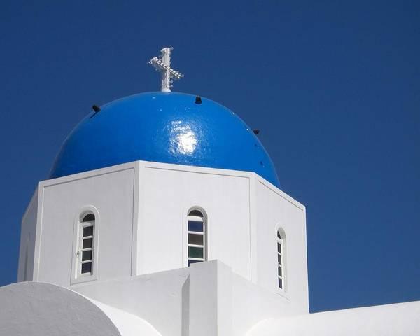 Photograph - Blue Dome - Santorini by KJ Swan