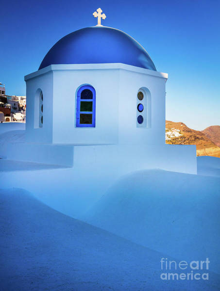 Aegean Sea Photograph - Blue Domed Chapel by Inge Johnsson