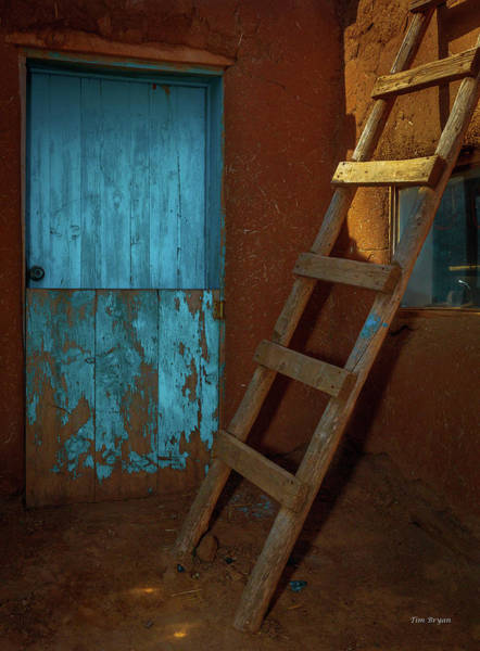 Photograph - Blue Door And Ladder - Taos Pueblo by Tim Bryan