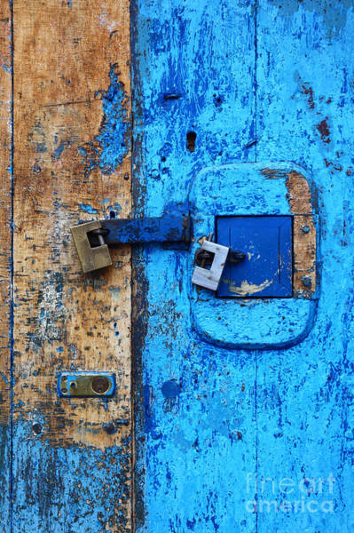 Photograph - Blue Door And Padlocks 1 by James Brunker