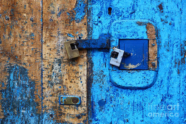 Photograph - Blue Door And Padlocks 2 by James Brunker