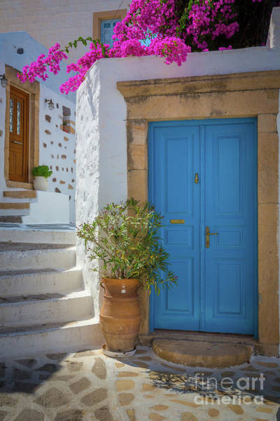 Aegean Photograph - Blue Door And Stairs by Inge Johnsson