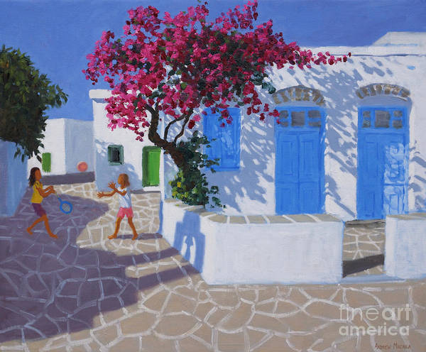 Wall Art - Painting - Blue Doors, Folygandros, Greek Islands by Andrew Macara