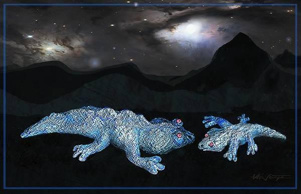 Sculpture - Blue  Dragon  Lizards by Hartmut Jager