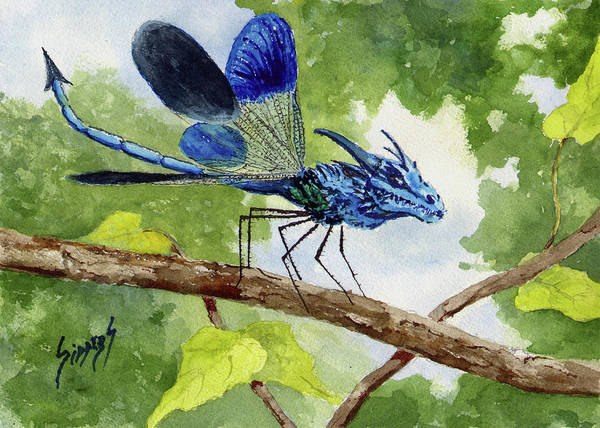 Painting - Blue Dragonfly by Sam Sidders