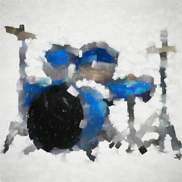Wall Art - Painting - Blue Drums Abstract by Dan Sproul