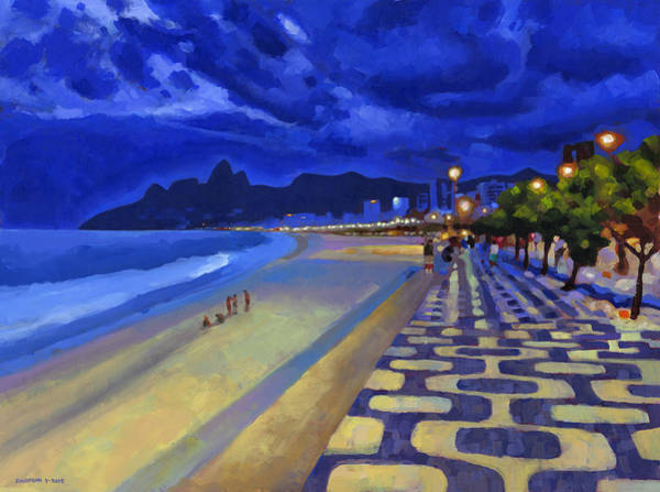 South Beach Painting - Blue Dusk Ipanema by Douglas Simonson