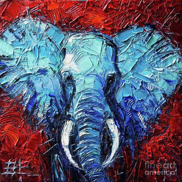 Impasto Photograph - Blue Elephant Palette Knives Impasto Abstract Oil Painting by Mona Edulesco