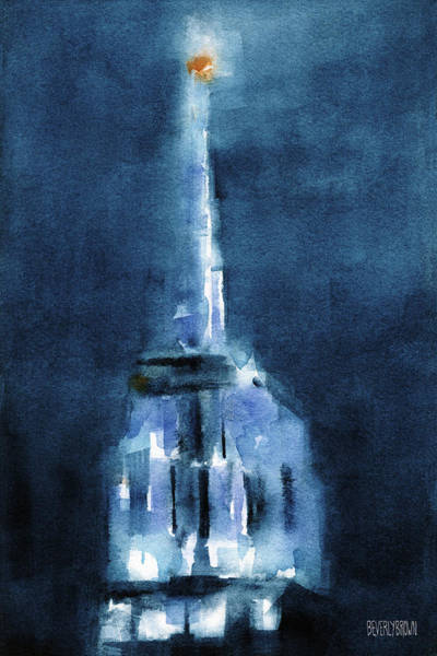 Urban Scene Painting - Blue Empire State Building by Beverly Brown