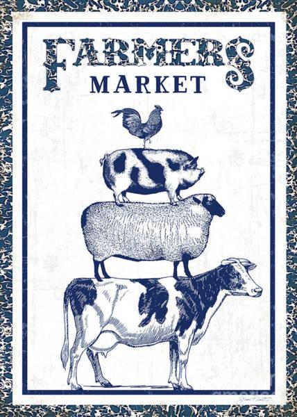 Wall Art - Digital Art - Blue Enamel Farmers Market by Jean Plout