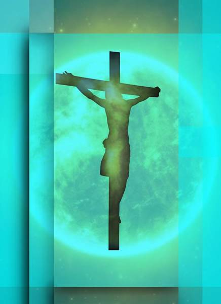 Digital Art - Blue Environment Crucifixion by Alberto RuiZ