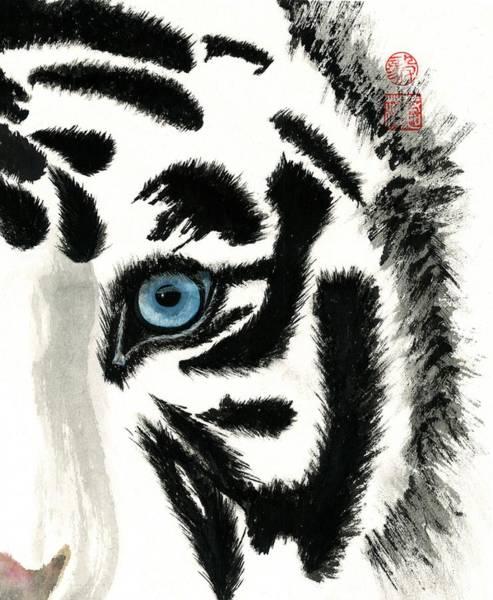 Wall Art - Painting - Blue-eyed Tiger by Terri Harris