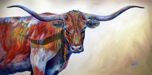 Longhorn Painting - Blue Eyes by Teshia Art