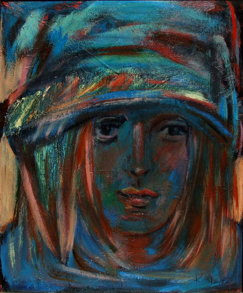 Painting - Blue Faced Girl by Katt Yanda