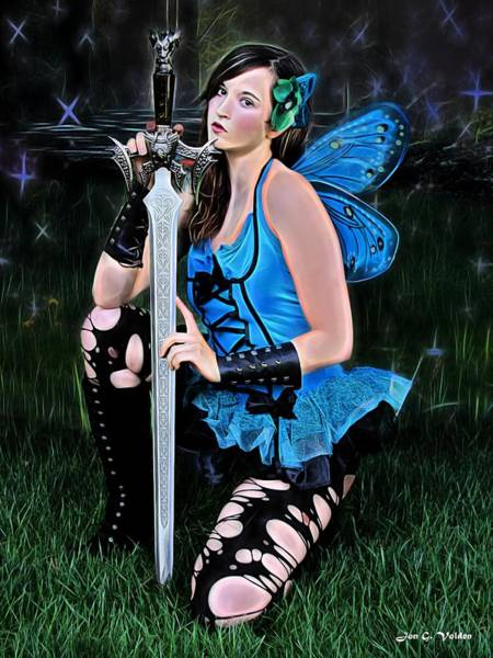 Painting - Blue Fairy And A Sword by Jon Volden
