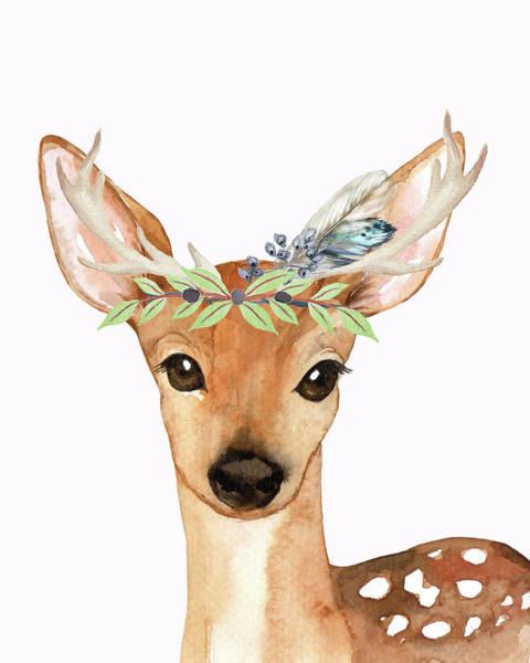 Woodland Digital Art - Blue Feather Woodland Boho Deer by Pink Forest Cafe