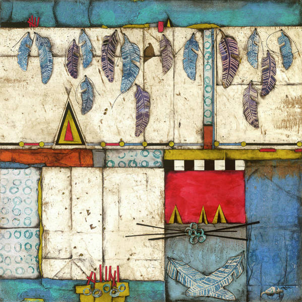 Triangle Mixed Media - Blue Feathers by Laura Lein-Svencner
