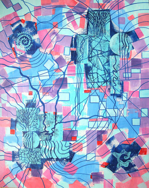 Entangled Painting - Blue Field Connections by Diana Perfect