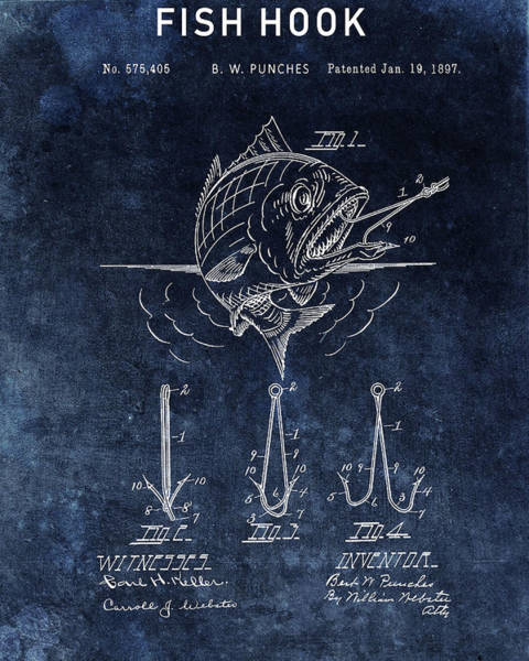 Hook Drawing - Blue Fish Hook Patent by Dan Sproul