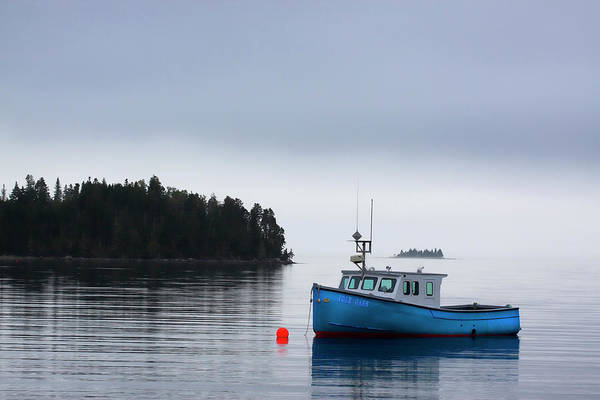 Fishing Boat Photograph - Blue Fishing Boat In Fog by Carol Leigh