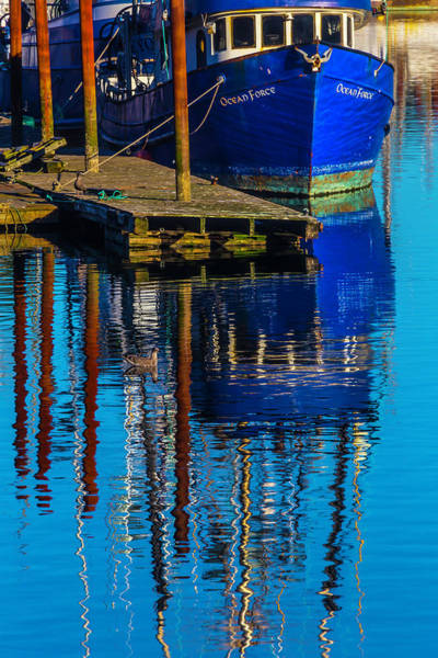 Rippling Photograph - Blue Fishing Boat Reflection by Garry Gay