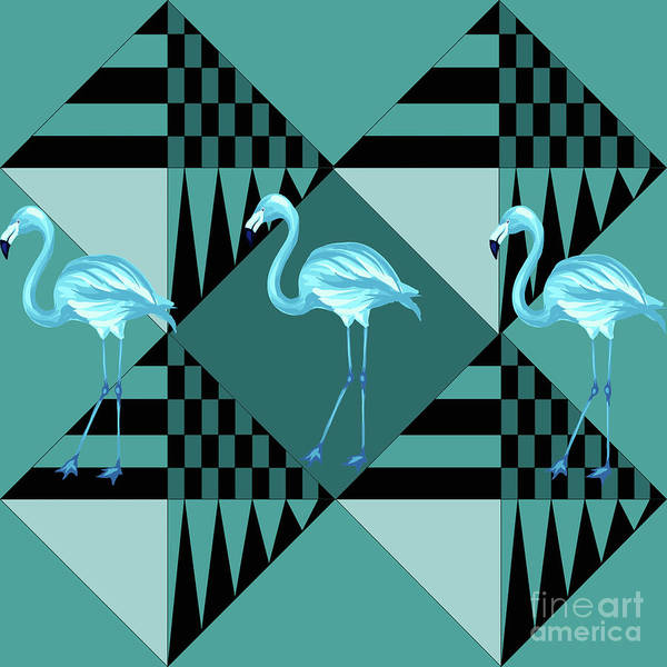 Flamingo Flower Wall Art - Digital Art - Blue Flamingo by Mark Ashkenazi