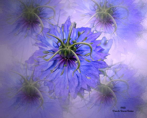 Prb Mixed Media - Blue Floral by Pamula Reeves-Barker