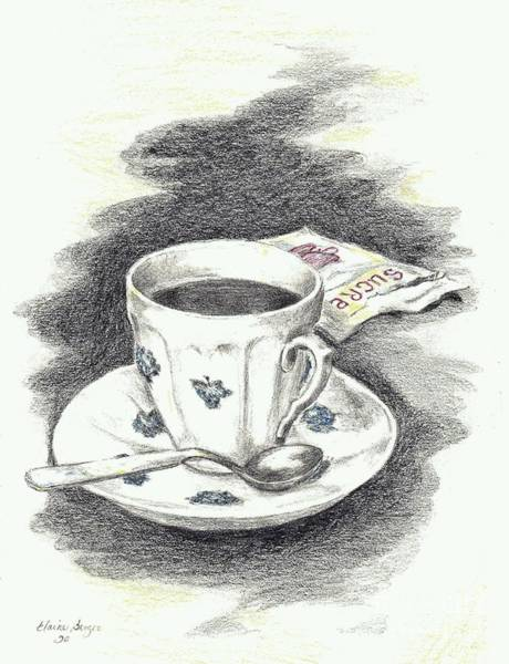 Coffee Drawing - Blue Flower Coffee Cup by Elaine Berger
