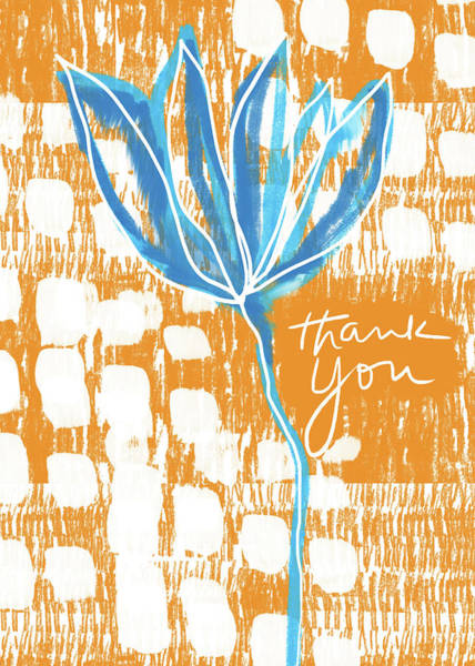 Orange Wood Photograph - Blue Flower Thank You- Art By Linda Woods by Linda Woods