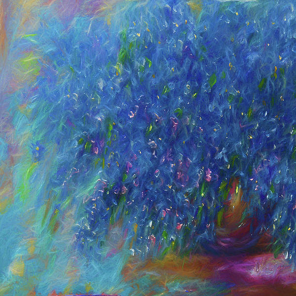 Digital Art - Blue Flowers Abstract by OLena Art Brand