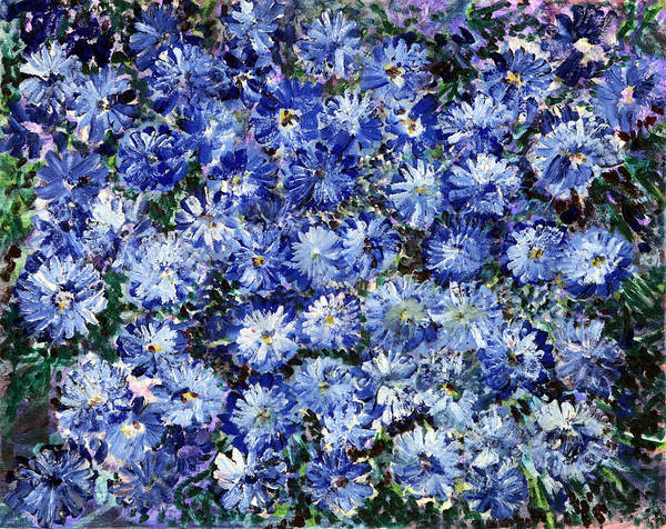 Emanate Painting - Blue Flowers by Don  Wright