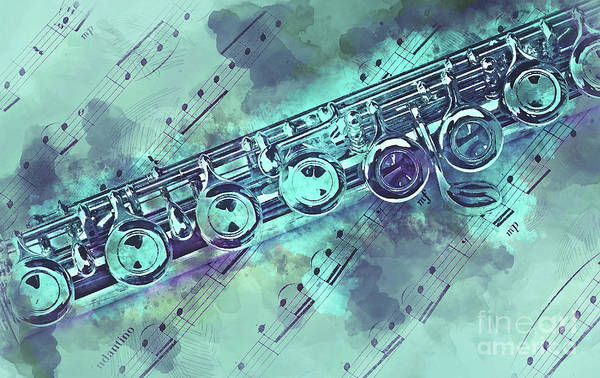 Wall Art - Painting - Blue Flute Watercolor by Delphimages Photo Creations