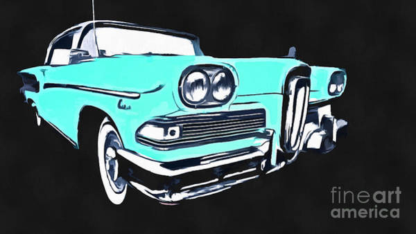 Wall Art - Photograph - Blue Ford Edsel Painting by Edward Fielding