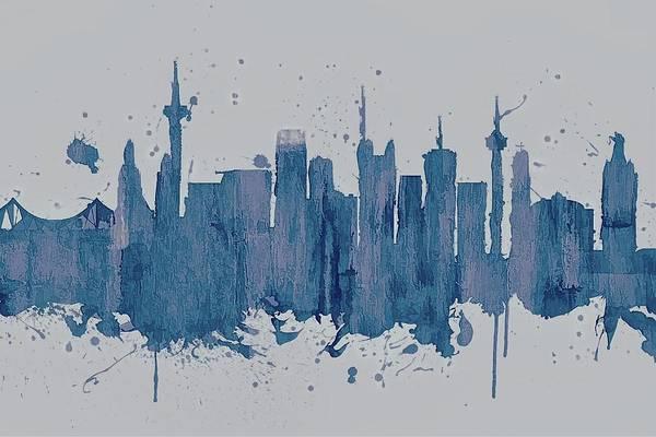 European Vacation Mixed Media - Blue Frankfurt Skyline by Dan Sproul