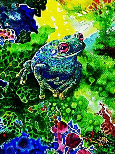 Painting - Blue  Frog by Hartmut Jager