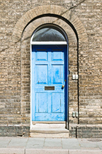 Brick Gothic Photograph - Blue Front Door by Tom Gowanlock