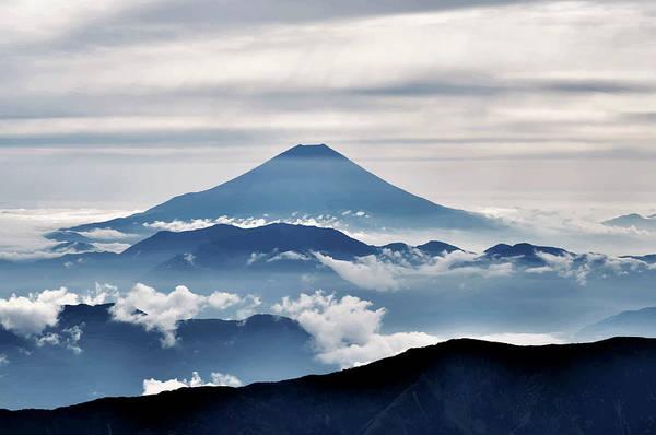 Wall Art - Digital Art - Blue Fuji by Daniel Hagerman