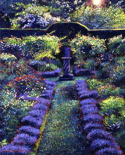 Garden Painting - Blue Garden Sunset by David Lloyd Glover