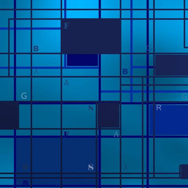 Digital Art - Blue Geometric Composition With Letters by Alberto RuiZ