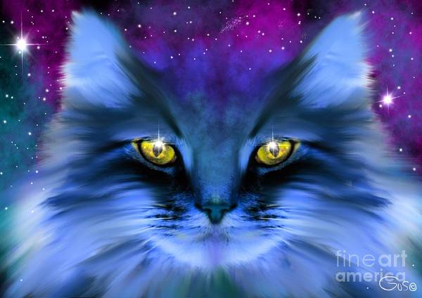Wall Art - Painting - Blue Ghost Cat by Nick Gustafson