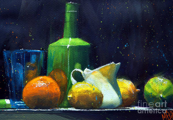 Guache Painting - Blue Glass And Lemons by Andre MEHU