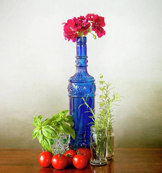 Ingredient Digital Art - Blue Glass Bottle With Vegetables And Flowers by Luisa Vallon Fumi