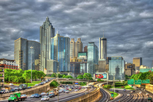 Photograph - Blue Glass Reflections Atlanta Downtown Cityscape Art by Reid Callaway