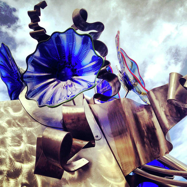 Photograph - Blue Glass Steel Sculpture by Patrick Malon