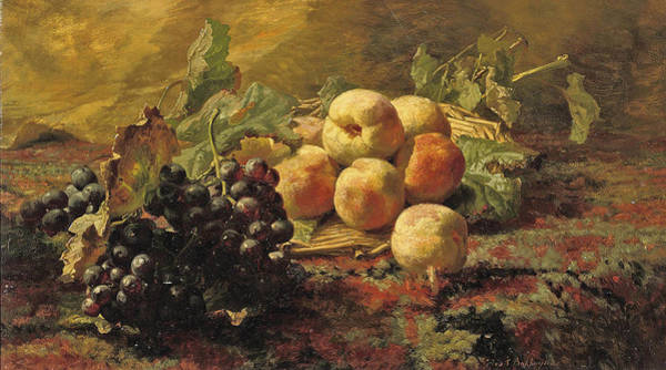 Wall Art - Painting - Blue Grapes And Peaches In A Wicker Basket by Gerardina Jacoba van de Sande Bakhuyzen