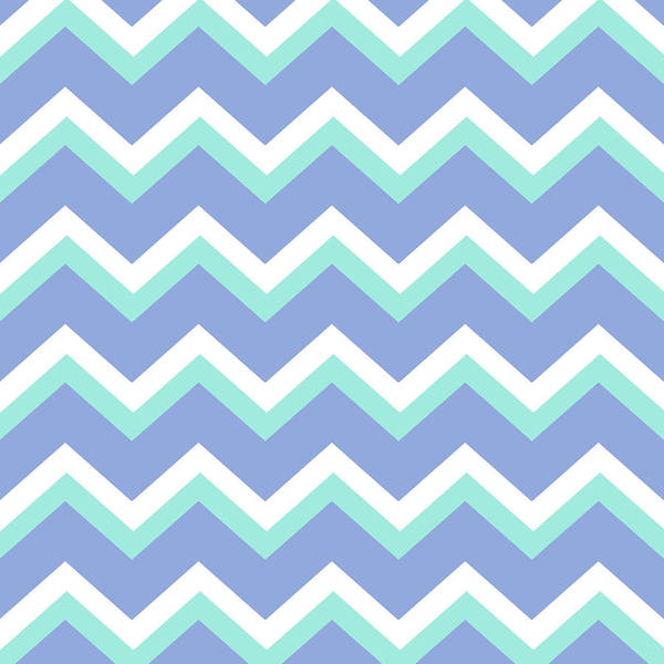 Mixed Media - Blue Green Chevron Pattern by Christina Rollo