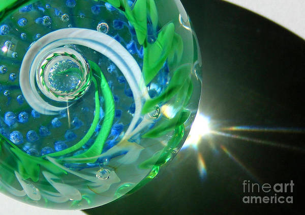 Photograph - Blue Green Glass Swirl Close-up by Karen Adams