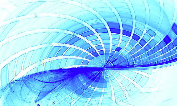 Aspect Digital Art - Blue Grid Wave Fractal Background by Oksana Ariskina