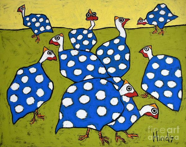 Farm Drawing - Blue Guineas by David Hinds
