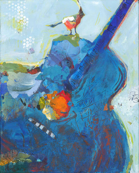 Painting - Blue Guitar With Bird by Shelli Walters